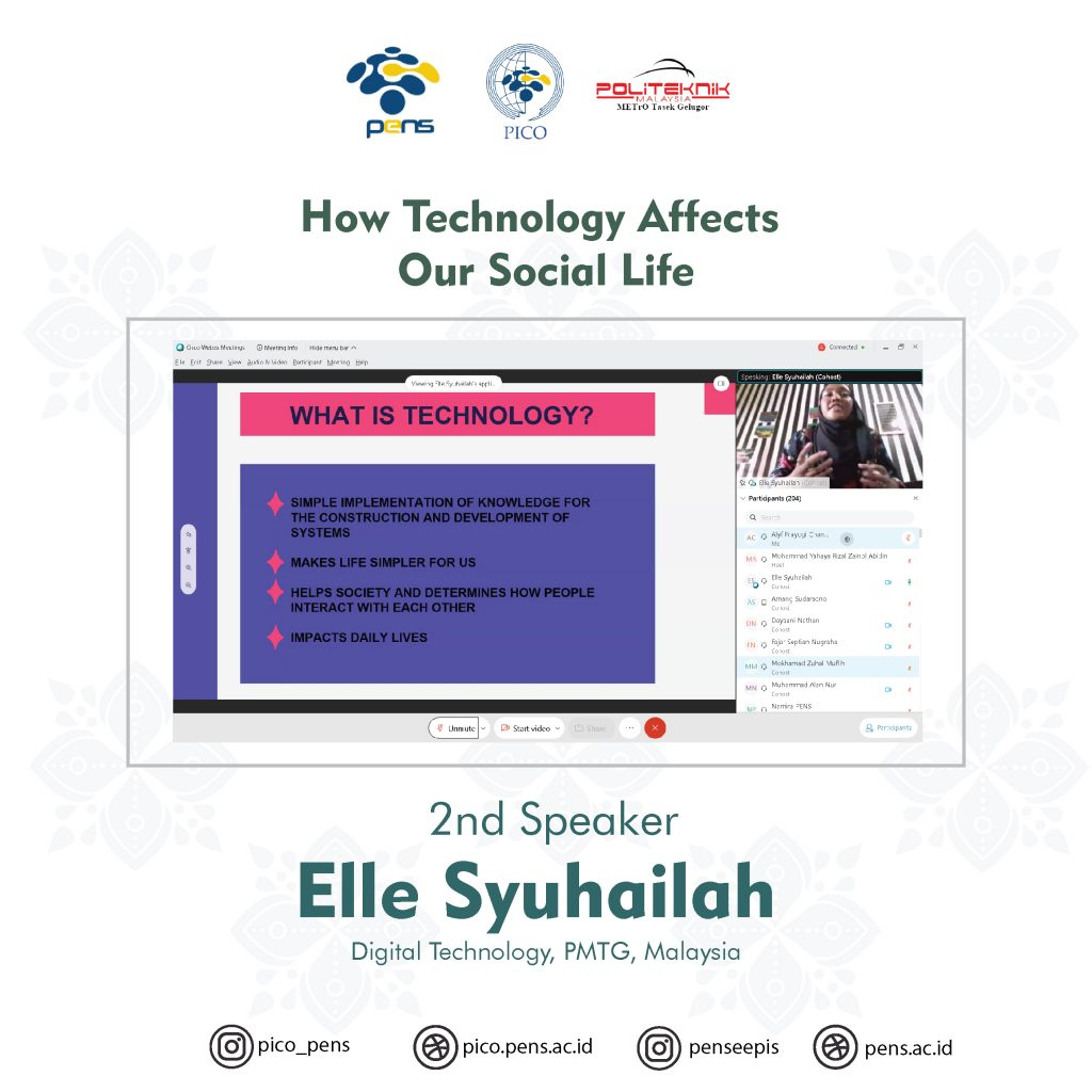 "Second session by Elle Syuhailah with the topic ""How Technology Affects Our Social Life"""